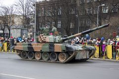NATO tanks and soldiers at military parade in Riga, Latvia. November 18, 2017. Parade in honor of proclamation of Latvia at November 18 for the Independence Day royalty free stock photos