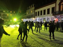 2017 November 29 - People skating in Christmas Market in Heidelberg.  Royalty Free Stock Photography