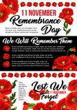 11 November poppy remembrance day vector poster. 11 November Poppy Day or Remembrance day poster for Commonwealth armistice commemoration. Vector red poppy and royalty free illustration