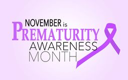 November is prematurity awareness month. Background with purple ribbon stock illustration