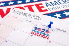 November 2020 presidential election text on calendar concept.