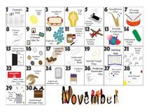November 2020 Quirky Holidays and Unusual Celebrations Calendar. November 2020 calendar illustrated with daily Quirky Holidays and Unusual Celebrations stock illustration