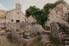 November 31, 2018. ruins of a medieval fortress in the city of Bar of Montenegro - Image stock photography