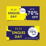 11 November sale banner trendy. Modern sale banners set and background for 11 November sale and singles day royalty free illustration