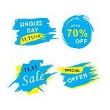 11 November sale banner trendy. Modern sale banners set and background for 11 November sale and singles day stock illustration