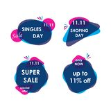 11 November sale banner trendy. Modern sale banners set and background for 11 November sale and singles day vector illustration