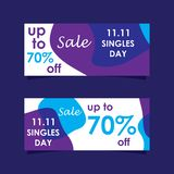 11 November sale banners set. Modern sale banners set and background for 11 November sale and singles day stock illustration