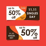 11 November sale banners set. Modern sale banners set and background for 11 November sale and singles day vector illustration
