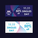 11 November sale banners set. Modern sale banners set and background for 11 November sale and singles day royalty free illustration