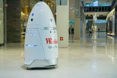 Knightscope security robot patrolling Westfield Valley Fair Mall, San Jose, California. November 8, 2017 San Jose/CA/USA - Knightscope security robot patrolling Royalty Free Stock Images
