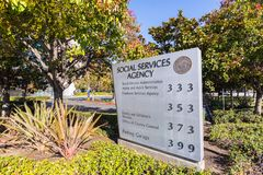 November 25, 2018 San Jose / CA / USA - Social Services Agency f. Or Santa Clara county sign located in front of their offices close to downtown San Jose, south stock photography