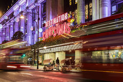13 November 2014 Selfridges shop on Oxford Street, London, decorated for Christmas and New Year Royalty Free Stock Image