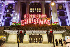 13 November 2014 Selfridges shop on Oxford Street, London, decorated for Christmas and New Year Stock Photos