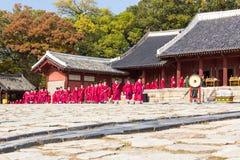 1 November 2014, Seoel, Zuid-Korea: Jeryeceremonie in Jongmyo-Heiligdom Stock Foto's