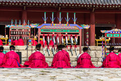 1 November 2014, Seoel, Zuid-Korea: Jeryeceremonie in Jongmyo-Heiligdom Stock Fotografie