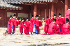 1 November 2014, Seoel, Zuid-Korea: Jeryeceremonie in Jongmyo-Heiligdom Royalty-vrije Stock Afbeelding