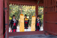 1 November 2014, Seoel, Zuid-Korea: Jeryeceremonie in Jongmyo-Heiligdom Royalty-vrije Stock Foto