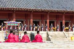 1 November 2014, Seoul, South Korea: Jerye ceremony in Jongmyo Shrine. 1 November 2014, Seoul, South Korea: Jerye ceremony held twice per year in Jongmyo Shrine Royalty Free Stock Images