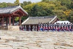 1 November 2014, Seoul, Sydkorea: Jerye ceremoni i den Jongmyo relikskrin Royaltyfri Bild