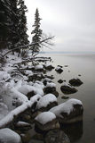 November Shoreline #1. Waskesiu Lake in northern Saskatchewan in mid-November Stock Photography