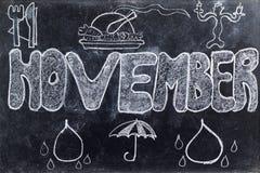 November som är handskriven på svart tavla Arkivbilder