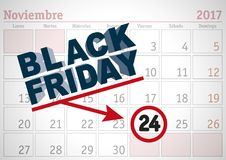 Black friday 2017 spanish appoinment. November 2017 spanish calendar sheet with an appointment for black friday. Vector illustration Royalty Free Stock Photo