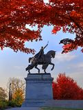 Fall Foliage around the St. Louis Statue. November 3, 2017 - St. Louis, Missouri - Fall foliage around the Apotheosis of St. Louis statue of King Louis IX of Royalty Free Stock Photo