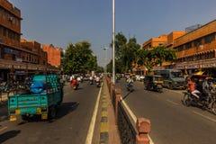 03 november, 2014: Straten van Jaipur, India Stock Afbeeldingen