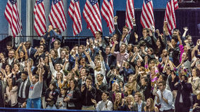 NOVEMBER 8, 2016, Supporters of Hillary Clinton Election Night at Jacob K. Javits Center - venue for Democratic presidential nomin Stock Photos