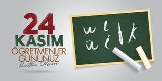 24. November türkische Lehrer Tag, Anschlagtafel-Entwurf Türkisch: Am 24. November der Tag der glücklichen Lehrer TR: 24 Kasim Og stock abbildung