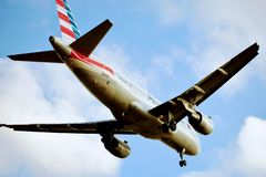 American Airlines Airbus 319 coming in for a landing. stock photo