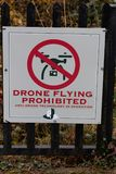 November 17th, 2017, Blarney, Ireland - No drones allowed sign at Blarney Castle Royalty Free Stock Images
