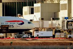 British Airways airplane Parked at the Airport Gate royalty free stock photo