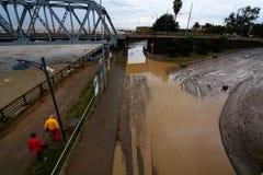November 2014, 11th: flod i Italien Chiavari Genova, Italien Royaltyfri Foto