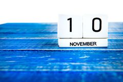 November 10th. Image of november 10th calendar on blue background. Veterans day. Empty space for text Royalty Free Stock Photos