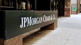 JP Morgan Chase Bank Logo on the side of a building stock images