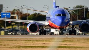 Southwest Airlines airplane on the taxiway preparing for takeoff stock photos