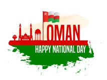 November 18th Sultanate of Oman . National Day. Celebration republic, graphic for design elements. view of the city the capital of Oman, Mascat vector illustration