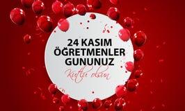 November 24th turkisk läraredag, turkiska November 24, lycklig läraredag 24 Kasim Ogretmenler Gununuz Kutlu Olsun stock illustrationer