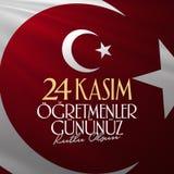 November 24th turkiska lärare dag, affischtavladesign Turkiskt: November 24, lyckliga lärares dag TR: 24 Kasim Ogretmenler Gununu stock illustrationer