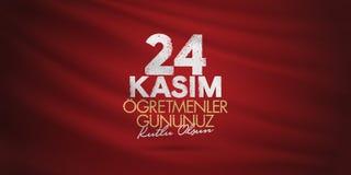 November 24th turkiska lärare dag, affischtavladesign Turkiskt: November 24, lyckliga lärares dag TR: 24 Kasim Ogretmenler Gununu vektor illustrationer