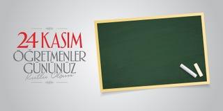 November 24th turkiska lärare dag, affischtavladesign Turkiskt: November 24, lyckliga lärares dag TR: 24 Kasim Ogretmenler Gununu royaltyfri illustrationer
