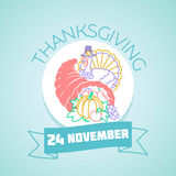 November 24 Thanksgiving day. Calendar for each day on November 24. Greeting card. Holiday - Thanksgiving day. Icon in the linear style Royalty Free Stock Photo