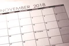 November 22. Thanksgiving in United States 2018 in selective focus on calendar. royalty free stock photos