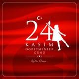 24 November, turkiskt kort för läraredagberöm royaltyfri illustrationer