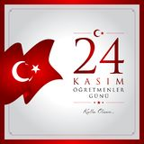 24 November, turkiskt kort för läraredagberöm vektor illustrationer