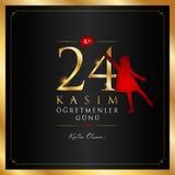 24 November, turkiskt kort för läraredagberöm stock illustrationer