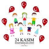 24 november Turks de kaartontwerp van de lerarendag royalty-vrije illustratie
