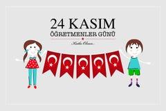 24 november Turks de kaartontwerp van de lerarendag vector illustratie