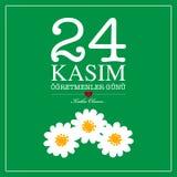 24 november Turks de kaartontwerp van de lerarendag stock illustratie